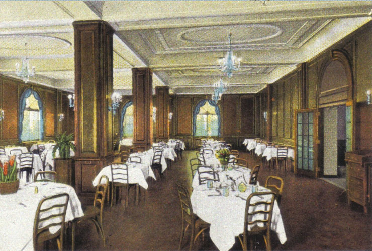 Illustration of the Hotel's dining hall